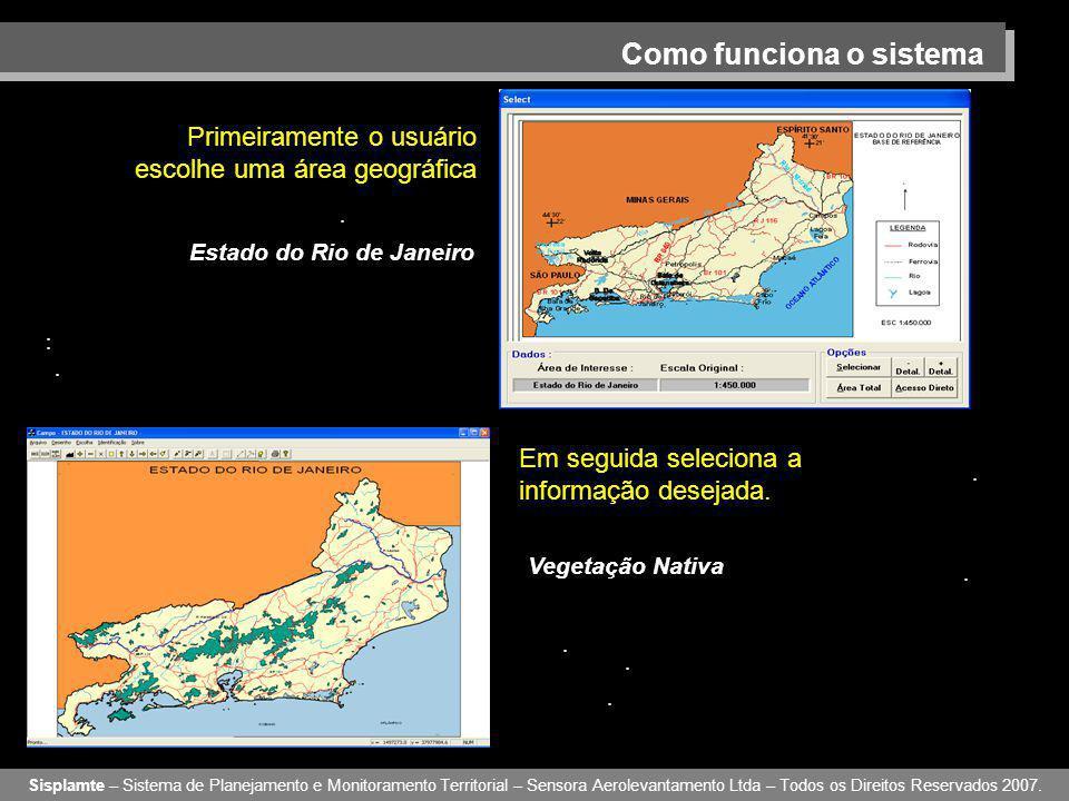 Como funciona o sistema Primeiramente o usuário escolhe uma área geográfica Sisplamte – Sistema de Planejamento e Monitoramento Territorial – Sensora Aerolevantamento Ltda – Todos os Direitos Reservados 2007.