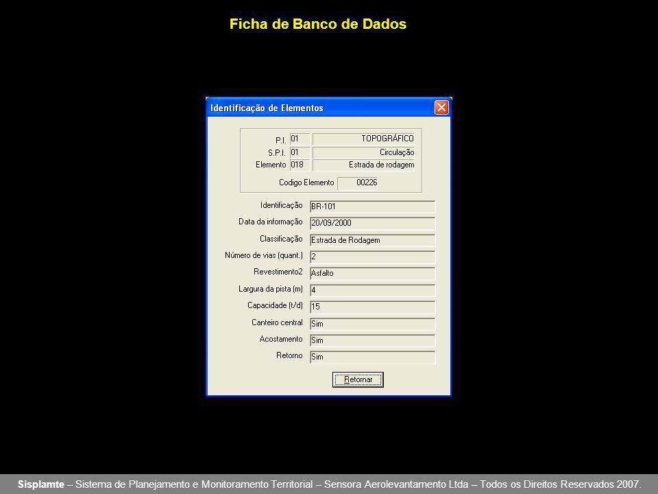 Ficha de Banco de Dados Sisplamte – Sistema de Planejamento e Monitoramento Territorial – Sensora Aerolevantamento Ltda – Todos os Direitos Reservados 2007.