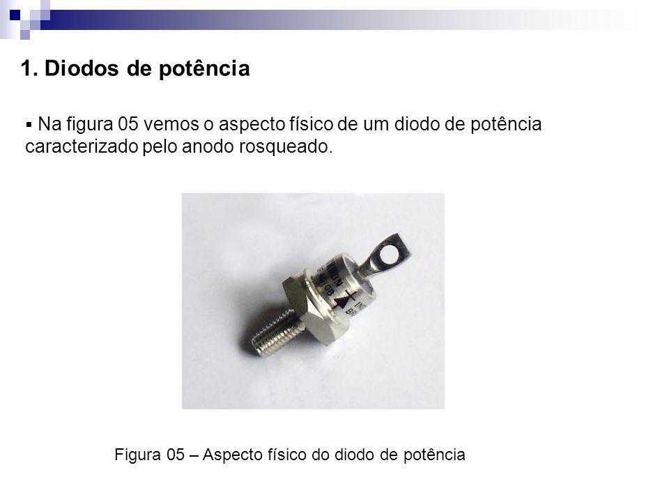 1. Diodos de potência Na figura 05 vemos o aspecto físico de um diodo de potência caracterizado pelo anodo rosqueado. Figura 05 – Aspecto físico do di