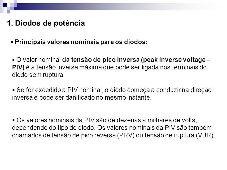 1. Diodos de potência Principais valores nominais para os diodos: O valor nominal da tensão de pico inversa (peak inverse voltage – PIV) é a tensão in