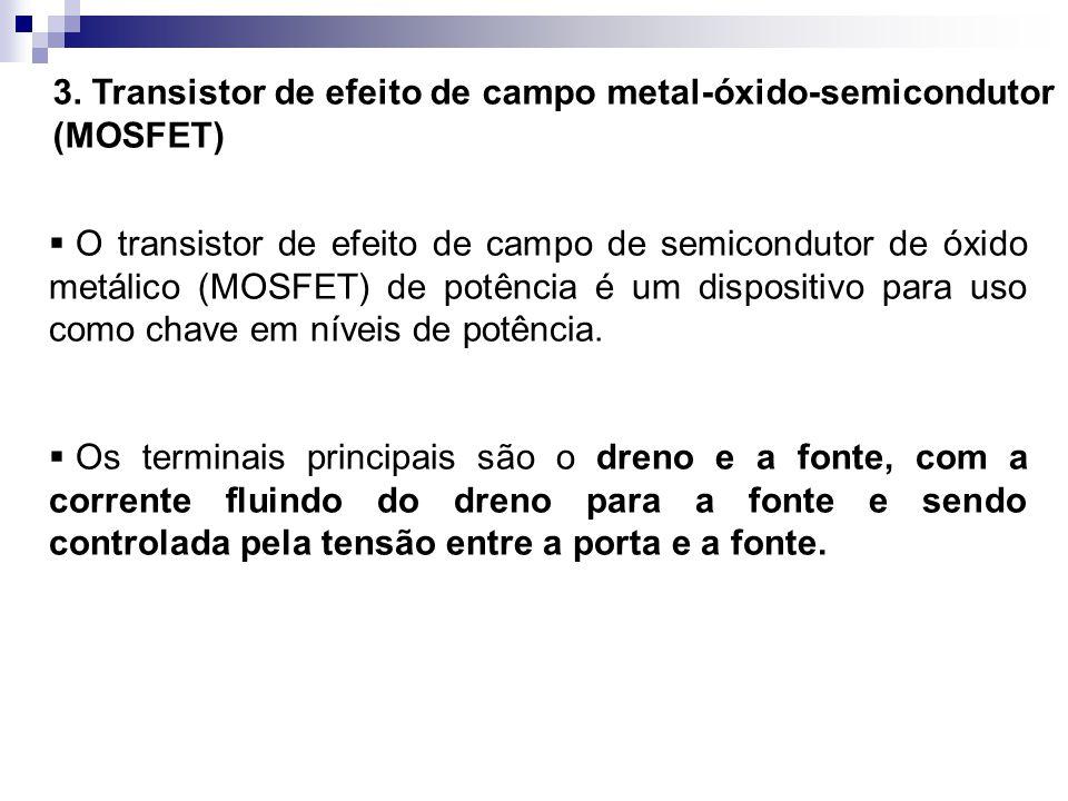 3. Transistor de efeito de campo metal-óxido-semicondutor (MOSFET) O transistor de efeito de campo de semicondutor de óxido metálico (MOSFET) de potên