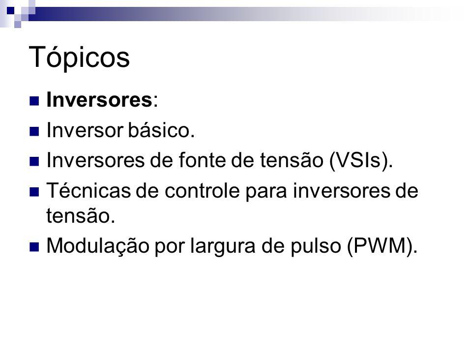 Tópicos Inversores: Inversores modulados por largura de pulso (PWM).
