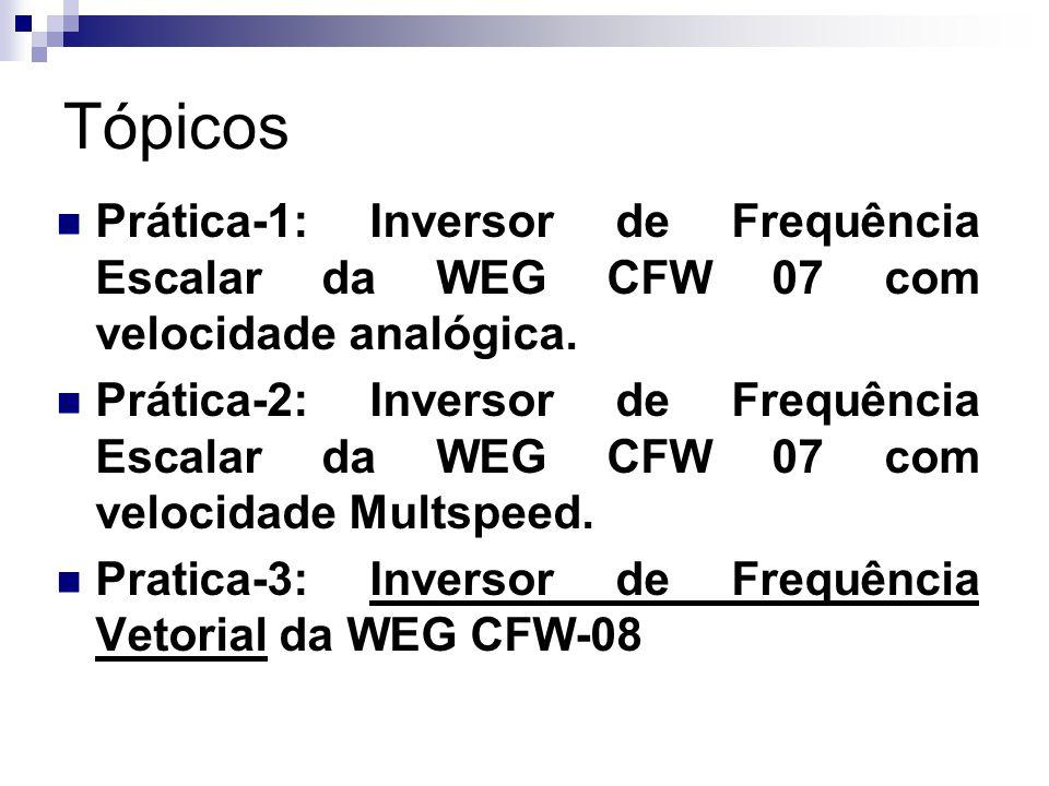 Tópicos Prática-1: Inversor de Frequência Escalar da WEG CFW 07 com velocidade analógica. Prática-2: Inversor de Frequência Escalar da WEG CFW 07 com