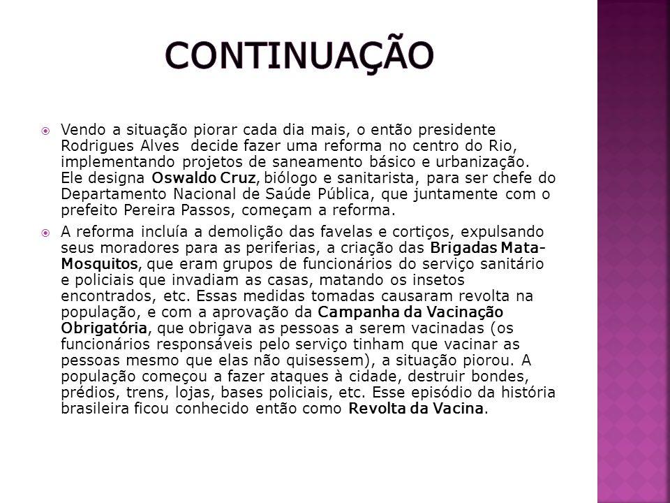 Vendo a situação piorar cada dia mais, o então presidente Rodrigues Alves decide fazer uma reforma no centro do Rio, implementando projetos de saneame