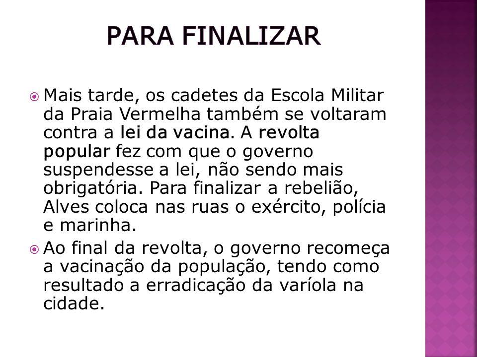 Concluímos que essa revolta só ocorreu porque havia muita população no Rio de Janeiro infectada, pela falta de saneamento básico.