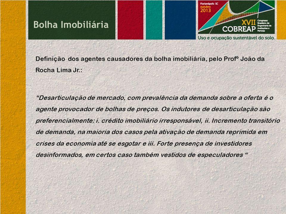Bolha Imobiliária Definição dos agentes causadores da bolha imobiliária, pelo Profº João da Rocha Lima Jr.: Desarticulação de mercado, com prevalência