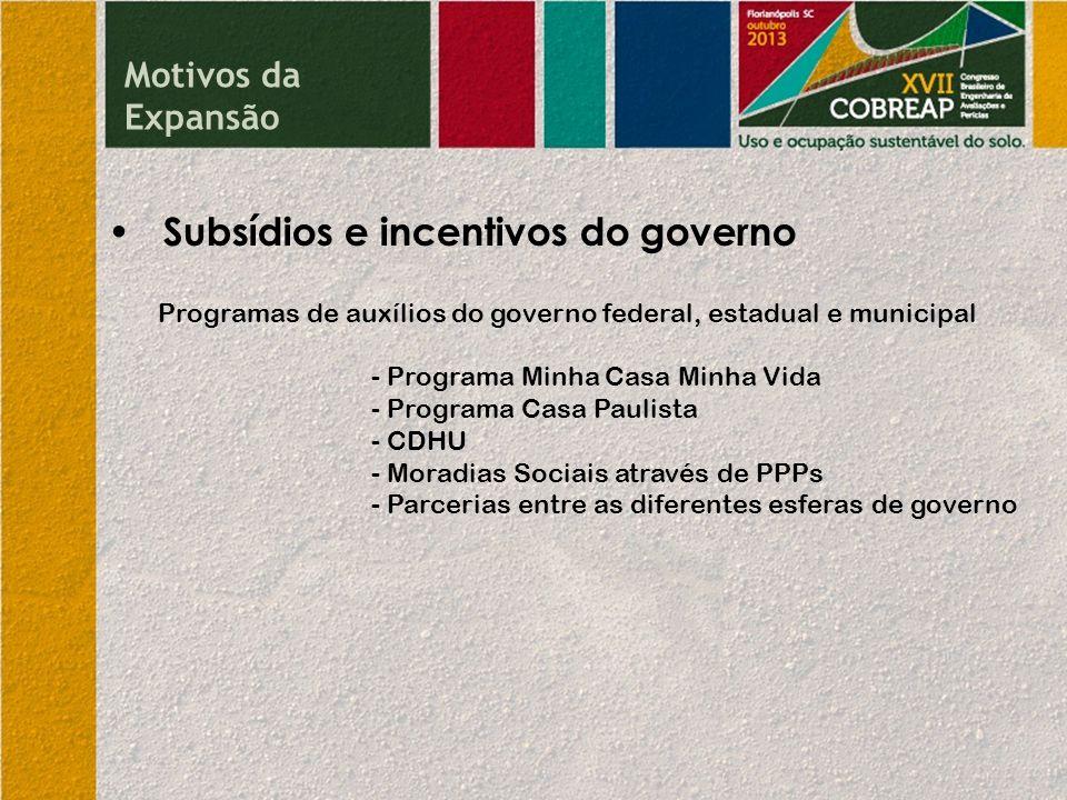 Subsídios e incentivos do governo Programas de auxílios do governo federal, estadual e municipal - Programa Minha Casa Minha Vida - Programa Casa Paul