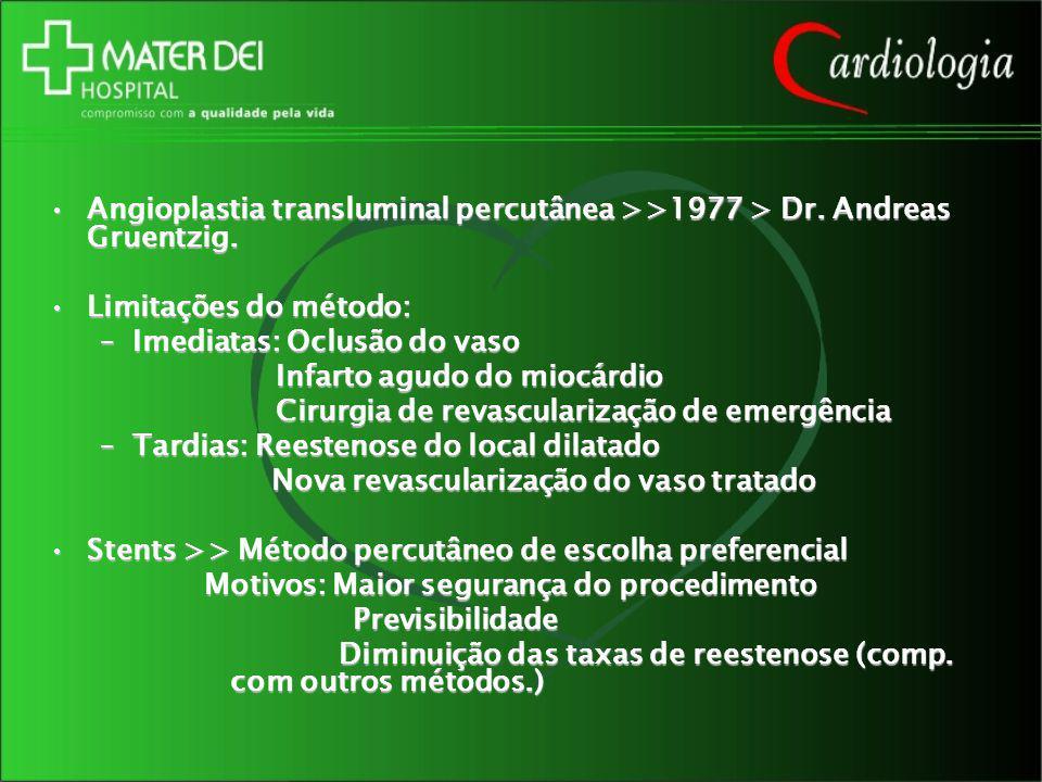 Angioplastia transluminal percutânea >>1977 > Dr. Andreas Gruentzig.Angioplastia transluminal percutânea >>1977 > Dr. Andreas Gruentzig. Limitações do