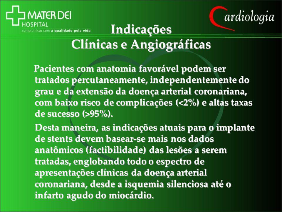 Indicações Clínicas e Angiográficas Pacientes com anatomia favorável podem ser tratados percutaneamente, independentemente do grau e da extensão da do