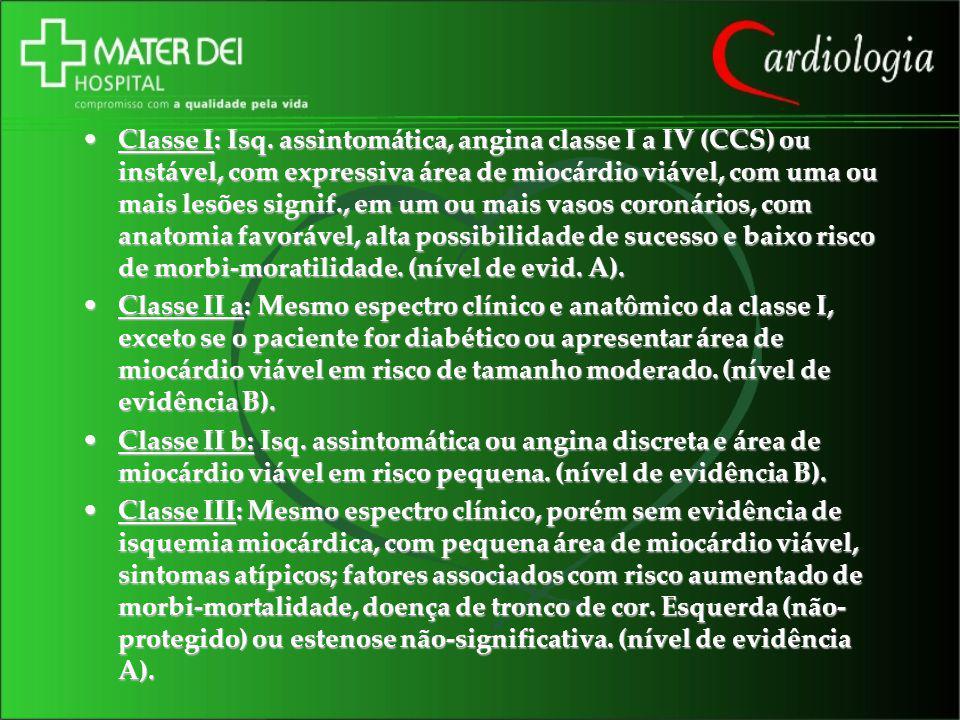 Classe I: Isq. assintomática, angina classe I a IV (CCS) ou instável, com expressiva área de miocárdio viável, com uma ou mais lesões signif., em um o
