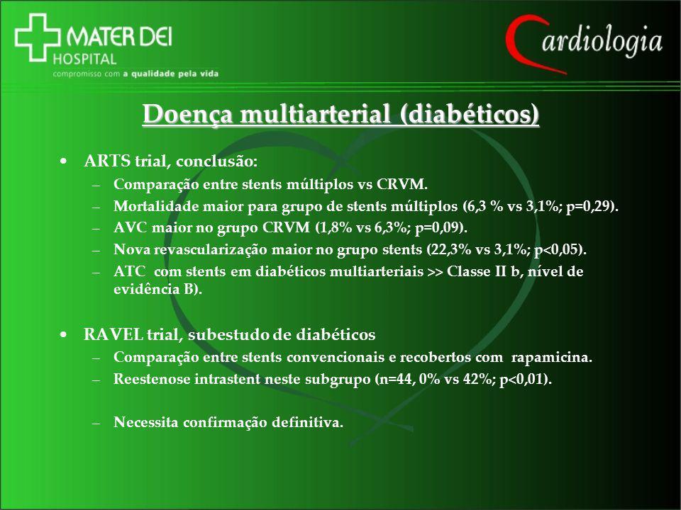 Doença multiarterial (diabéticos) ARTS trial, conclusão: –Comparação entre stents múltiplos vs CRVM. –Mortalidade maior para grupo de stents múltiplos