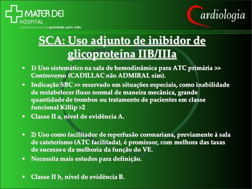 SCA: Uso adjunto de inibidor de glicoproteína IIB/IIIa 1) Uso sistemático na sala de hemodinâmica para ATC primária >> Controverso (CADILLAC não ADMIR