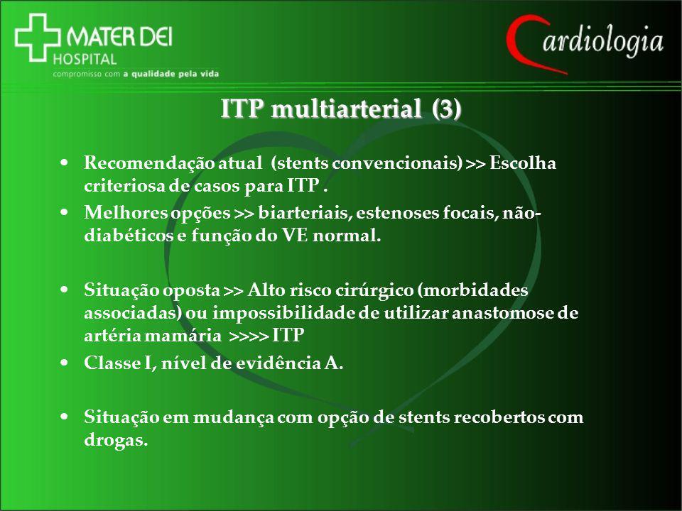 ITP multiarterial (3) Recomendação atual (stents convencionais) >> Escolha criteriosa de casos para ITP. Melhores opções >> biarteriais, estenoses foc