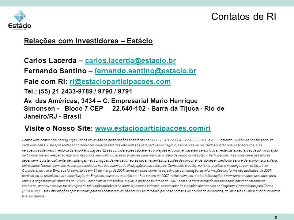 8 Contatos de RI Relações com Investidores – Estácio Carlos Lacerda – carlos.lacerda@estacio.brcarlos.lacerda@estacio.br Fernando Santino – fernando.santino@estacio.brfernando.santino@estacio.br Fale com RI: ri@estacioparticipacoes.comri@estacioparticipacoes.com Tel.: (55) 21 2433-9789 / 9790 / 9791 Av.