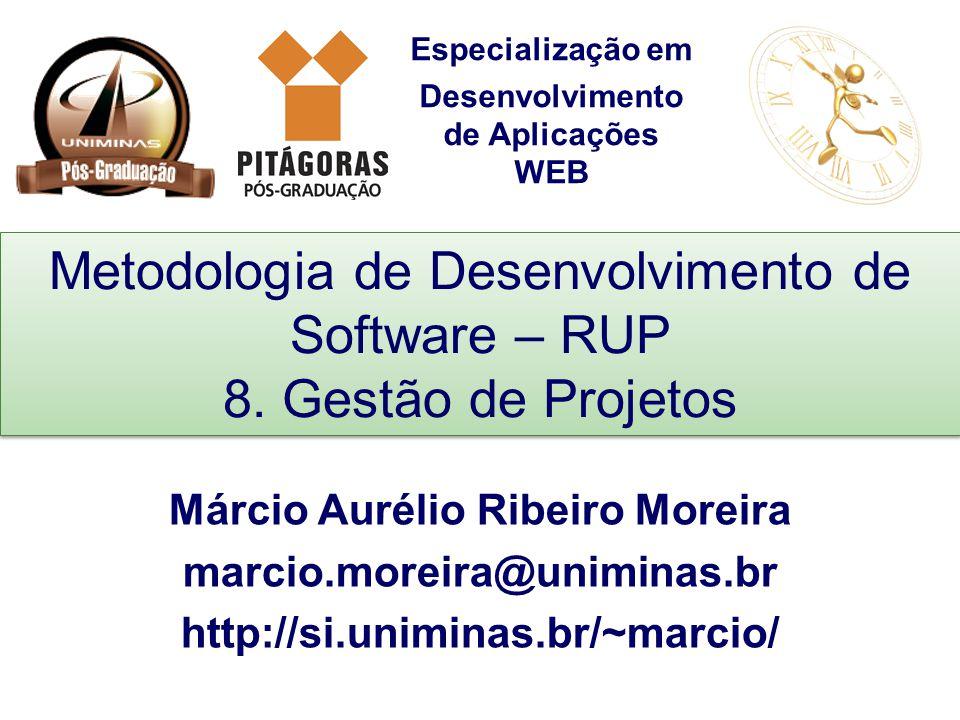 Especialização em Desenvolvimento de Aplicações WEB Metodologia de Desenvolvimento de Software – RUP 8. Gestão de Projetos Márcio Aurélio Ribeiro More