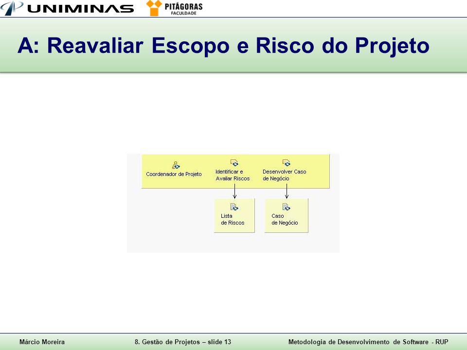 Márcio Moreira8. Gestão de Projetos – slide 13Metodologia de Desenvolvimento de Software - RUP A: Reavaliar Escopo e Risco do Projeto
