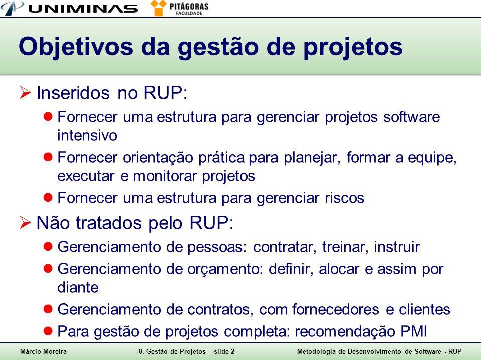 Márcio Moreira8. Gestão de Projetos – slide 2Metodologia de Desenvolvimento de Software - RUP Objetivos da gestão de projetos Inseridos no RUP: Fornec