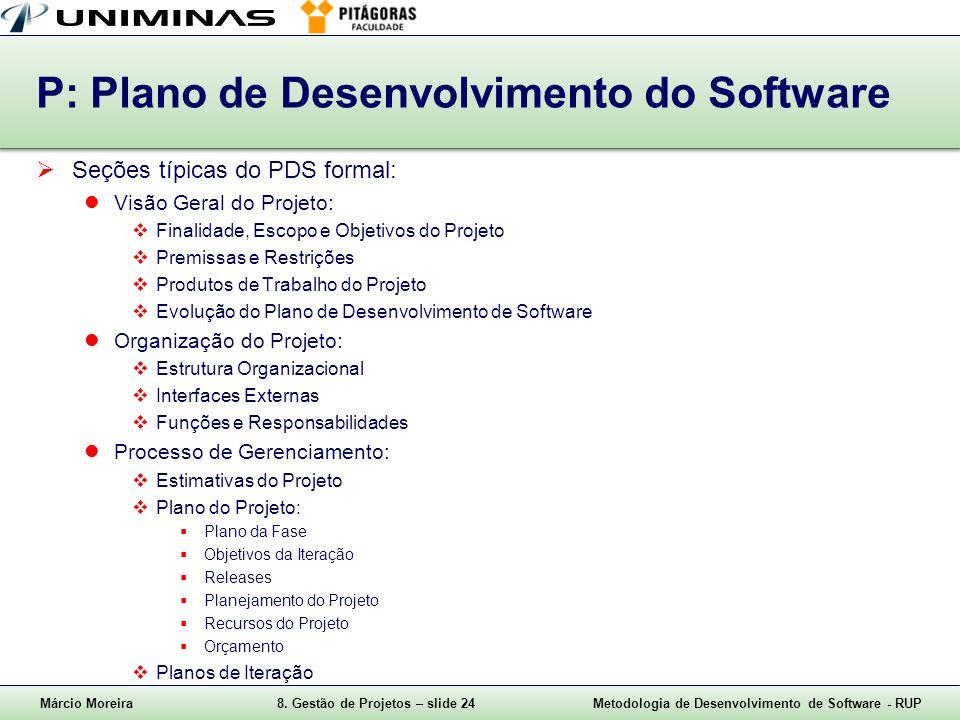 Márcio Moreira8. Gestão de Projetos – slide 24Metodologia de Desenvolvimento de Software - RUP P: Plano de Desenvolvimento do Software Seções típicas