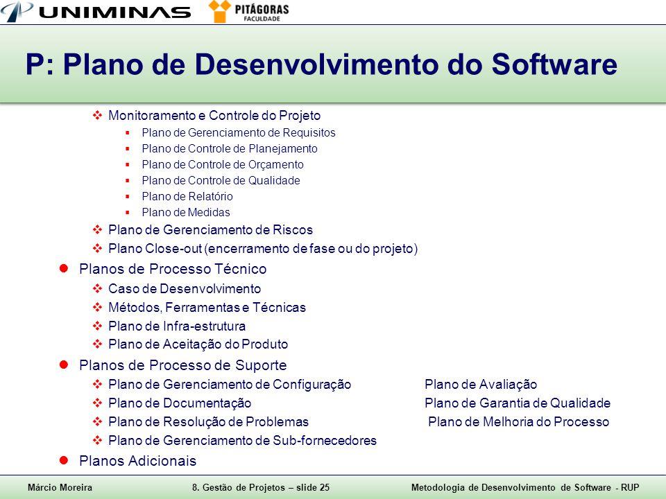 Márcio Moreira8. Gestão de Projetos – slide 25Metodologia de Desenvolvimento de Software - RUP P: Plano de Desenvolvimento do Software Monitoramento e