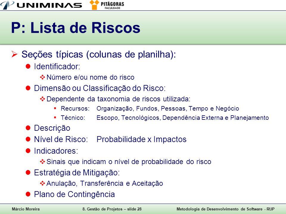 Márcio Moreira8. Gestão de Projetos – slide 28Metodologia de Desenvolvimento de Software - RUP P: Lista de Riscos Seções típicas (colunas de planilha)