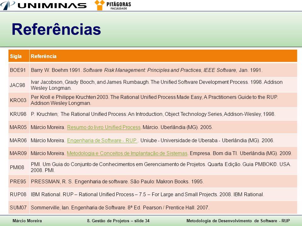 Márcio Moreira8. Gestão de Projetos – slide 34Metodologia de Desenvolvimento de Software - RUP Referências SiglaReferência BOE91Barry W. Boehm 1991. S