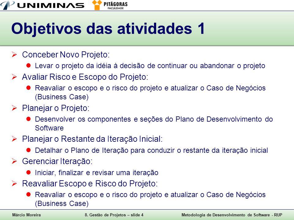 Márcio Moreira8. Gestão de Projetos – slide 4Metodologia de Desenvolvimento de Software - RUP Objetivos das atividades 1 Conceber Novo Projeto: Levar