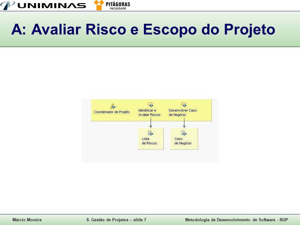 Márcio Moreira8. Gestão de Projetos – slide 7Metodologia de Desenvolvimento de Software - RUP A: Avaliar Risco e Escopo do Projeto