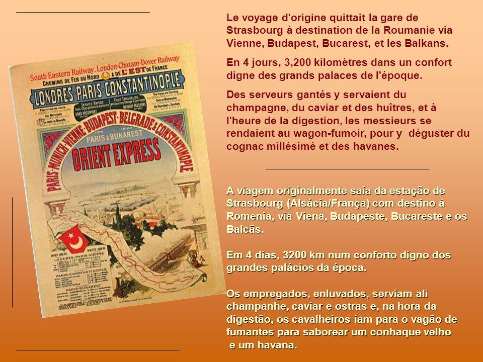 LOrient-Express est inauguré à Paris le 4 octobre 1883. Cest le début dune légende. En moins dune décennie, lOrient-Express devient la forme de transp