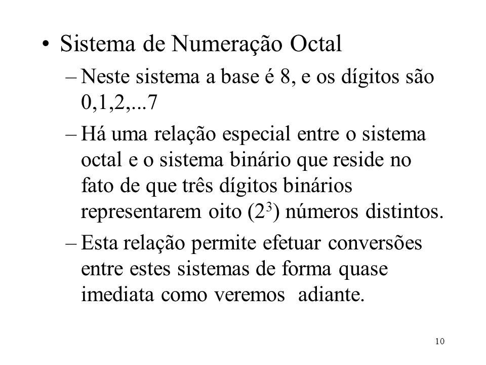 10 Sistema de Numeração Octal –Neste sistema a base é 8, e os dígitos são 0,1,2,...7 –Há uma relação especial entre o sistema octal e o sistema binári