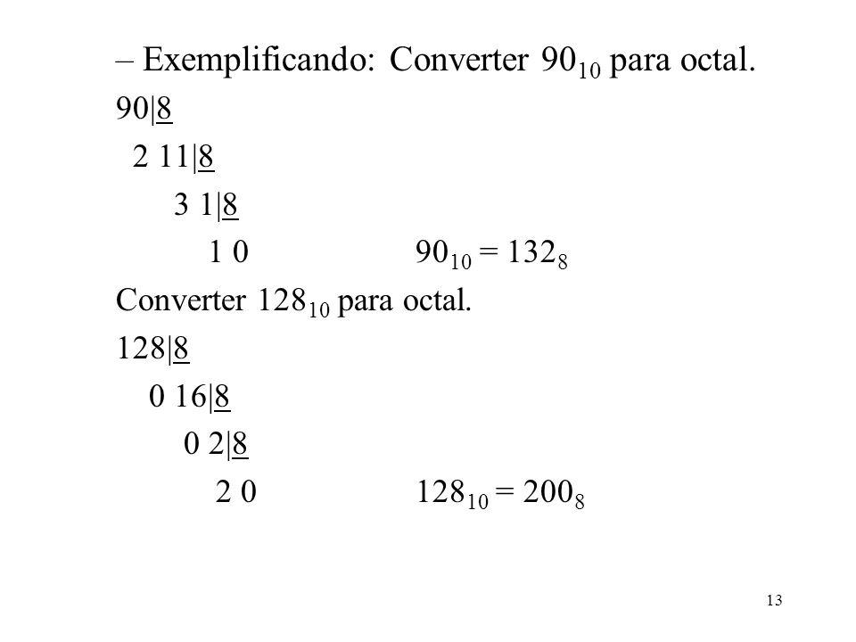 13 –Exemplificando: Converter 90 10 para octal. 90|8 2 11|8 3 1|8 1 090 10 = 132 8 Converter 128 10 para octal. 128|8 0 16|8 0 2|8 2 0128 10 = 200 8