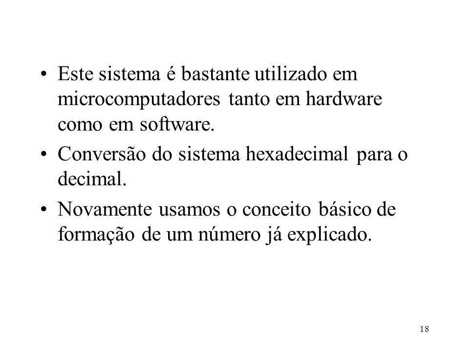 18 Este sistema é bastante utilizado em microcomputadores tanto em hardware como em software. Conversão do sistema hexadecimal para o decimal. Novamen
