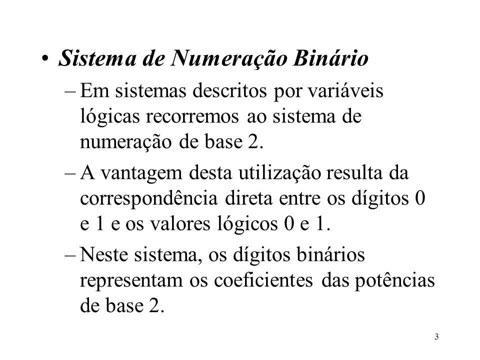 3 Sistema de Numeração Binário –Em sistemas descritos por variáveis lógicas recorremos ao sistema de numeração de base 2. –A vantagem desta utilização