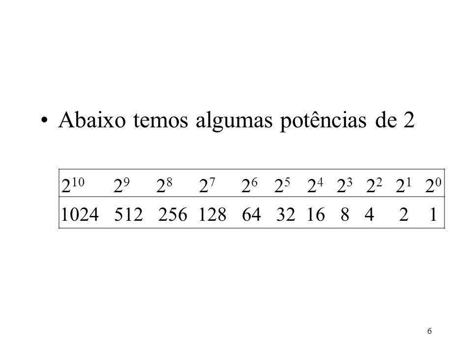 6 Abaixo temos algumas potências de 2 2 10 2 9 2 8 2 7 2 6 2 5 2 4 2 3 2 2 2 1 2 0 1024 512 256 128 64 32 16 8 4 2 1