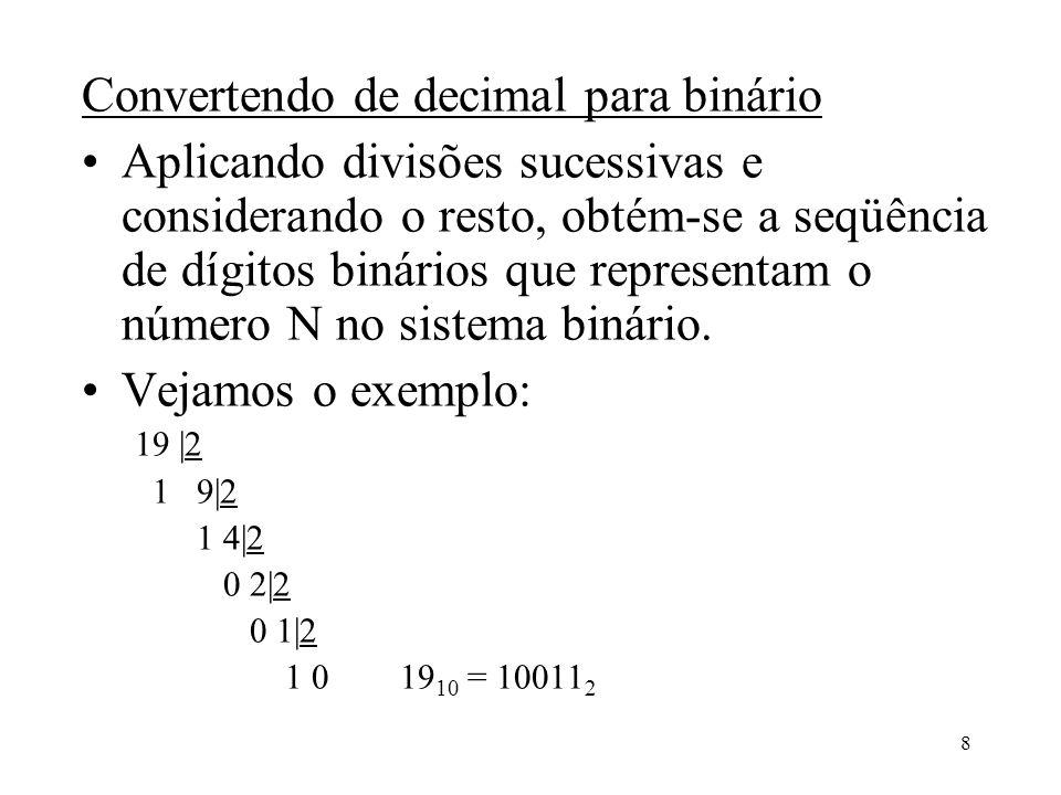 8 Convertendo de decimal para binário Aplicando divisões sucessivas e considerando o resto, obtém-se a seqüência de dígitos binários que representam o
