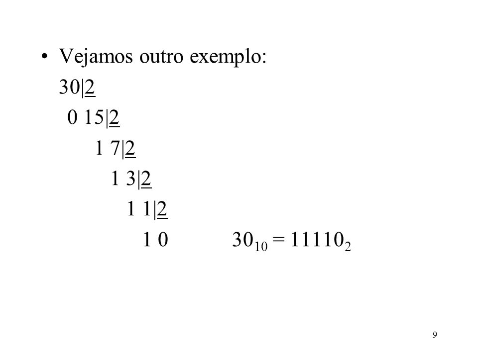 10 Sistema de Numeração Octal –Neste sistema a base é 8, e os dígitos são 0,1,2,...7 –Há uma relação especial entre o sistema octal e o sistema binário que reside no fato de que três dígitos binários representarem oito (2 3 ) números distintos.