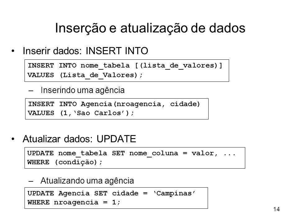 14 Inserção e atualização de dados Inserir dados: INSERT INTO –Inserindo uma agência Atualizar dados: UPDATE –Atualizando uma agência INSERT INTO nome