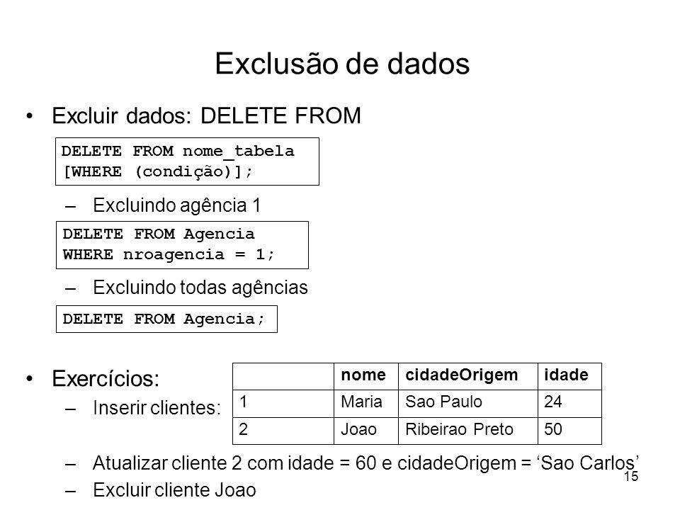 15 Exclusão de dados Excluir dados: DELETE FROM –Excluindo agência 1 –Excluindo todas agências Exercícios: –Inserir clientes: –Atualizar cliente 2 com