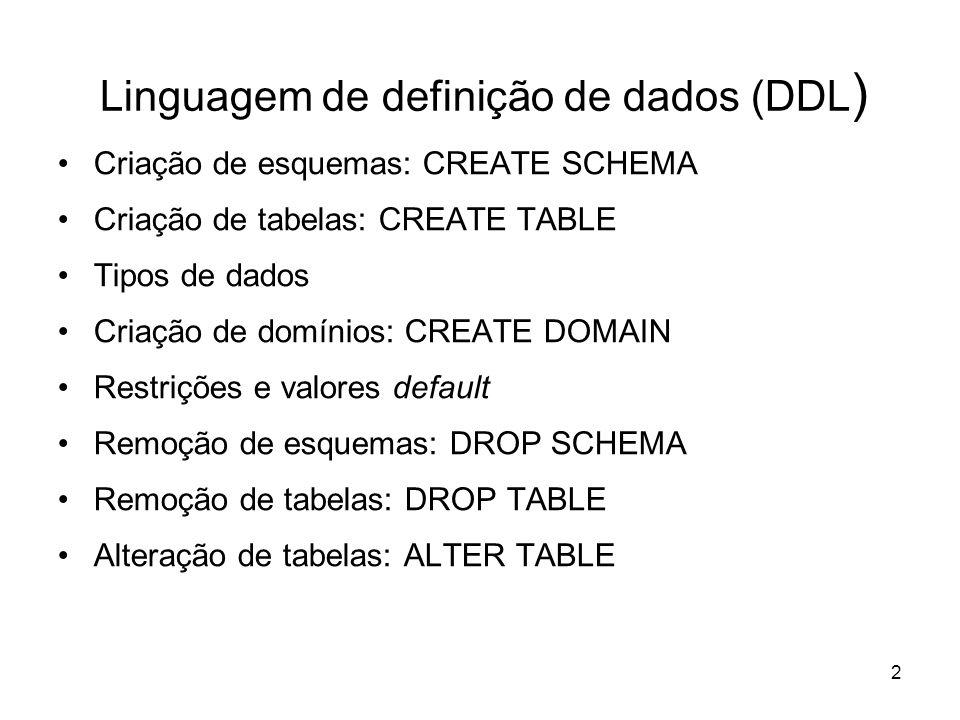2 Linguagem de definição de dados (DDL ) Criação de esquemas: CREATE SCHEMA Criação de tabelas: CREATE TABLE Tipos de dados Criação de domínios: CREAT