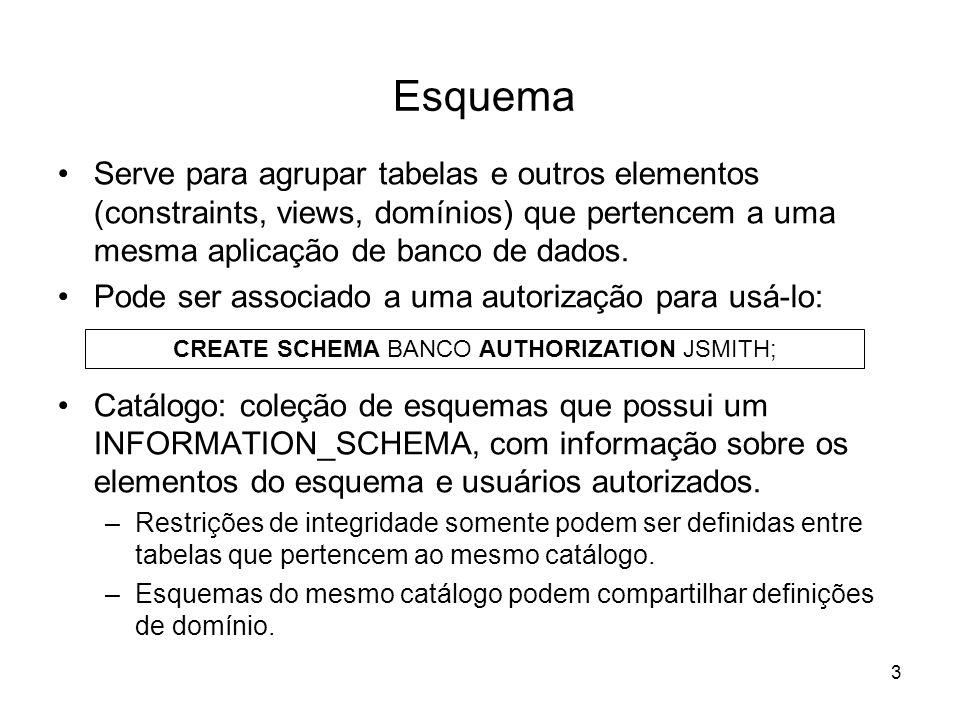 4 Mapeamento para modelo relacional: Agencia(nroagencia,cidade) Conta(nroagencia, nroconta, saldo) Cliente_tem_Conta(nroagencia, nroconta, nrocliente) Cliente(nrocliente, nome, idade, cidadeOrigem) Exemplo: Esquema de uma aplicação bancária cidade nroagencia nome cidadeOrigem idade nrocliente Cliente saldo nroconta N Agência Conta Tem M Pertence NM