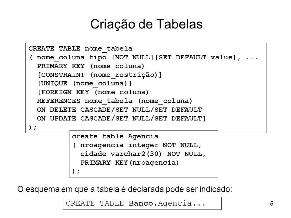 5 Criação de Tabelas O esquema em que a tabela é declarada pode ser indicado: CREATE TABLE nome_tabela ( nome_coluna tipo [NOT NULL][SET DEFAULT value
