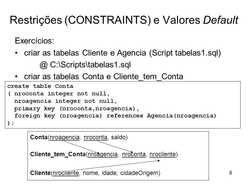 10 Restrições (CONSTRAINTS) e Valores Default Exercício: criar a tabela Cliente_tem_Conta create table Cliente_tem_Conta ( nrocliente integer not null, nroconta integer not null, nroagencia integer not null, primary key (nrocliente,nroconta,nroagencia), foreign key (nrocliente) references Cliente(nrocliente), foreign key (nroconta,nroagencia) references Conta (nroconta,nroagencia) );