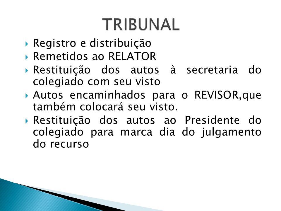 Registro e distribuição Remetidos ao RELATOR Restituição dos autos à secretaria do colegiado com seu visto Autos encaminhados para o REVISOR,que também colocará seu visto.