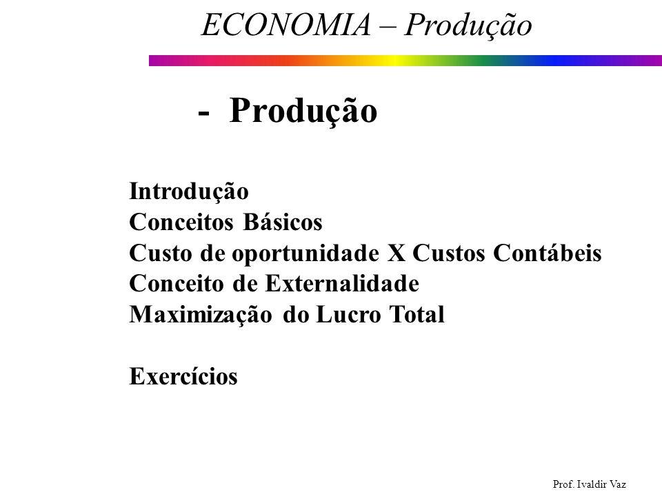 Prof. Ivaldir Vaz ECONOMIA – Produção 1 Introdução Conceitos Básicos Custo de oportunidade X Custos Contábeis Conceito de Externalidade Maximização do