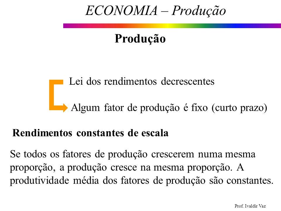 Prof. Ivaldir Vaz ECONOMIA – Produção 11 Produção Lei dos rendimentos decrescentes Algum fator de produção é fixo (curto prazo) Rendimentos constantes