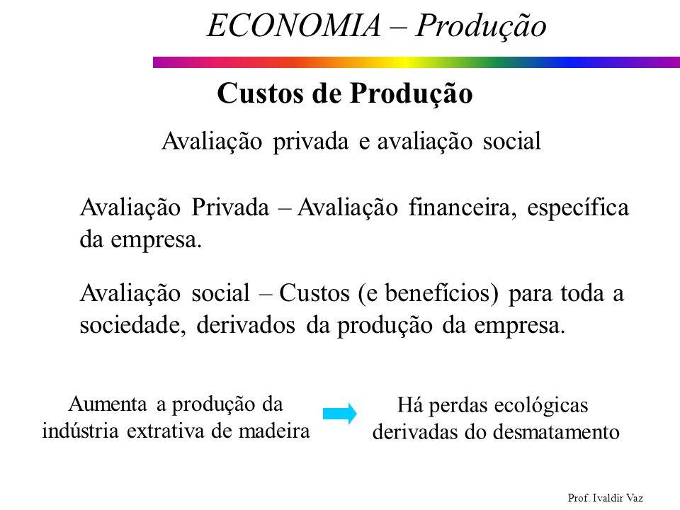 Prof. Ivaldir Vaz ECONOMIA – Produção 12 Custos de Produção Avaliação privada e avaliação social Avaliação Privada – Avaliação financeira, específica