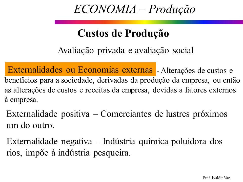 Prof. Ivaldir Vaz ECONOMIA – Produção 13 Custos de Produção Avaliação privada e avaliação social Externalidades ou Economias externas Externalidade po