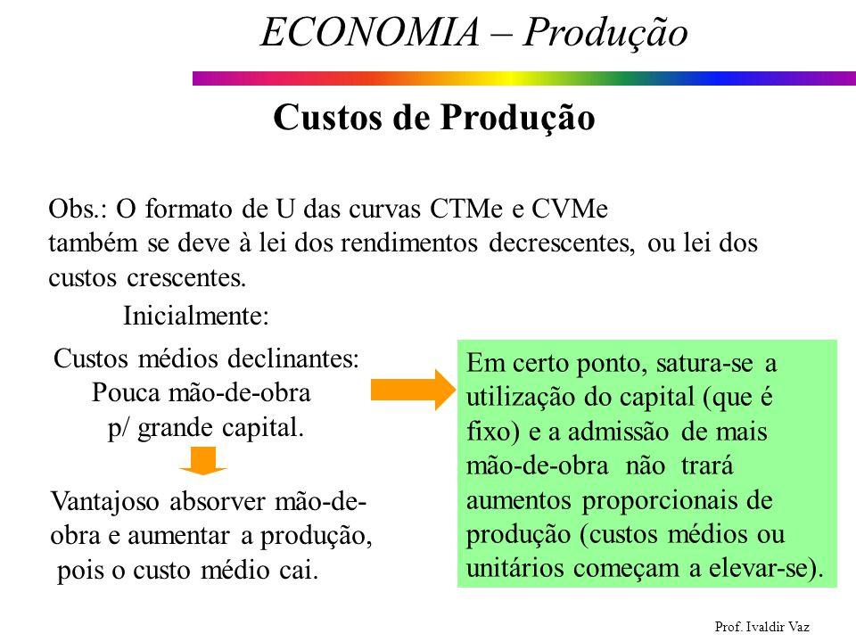 Prof. Ivaldir Vaz ECONOMIA – Produção 17 Custos de Produção Obs.: O formato de U das curvas CTMe e CVMe também se deve à lei dos rendimentos decrescen