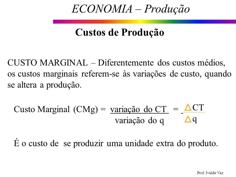 Prof. Ivaldir Vaz ECONOMIA – Produção 18 Custos de Produção CUSTO MARGINAL – Diferentemente dos custos médios, os custos marginais referem-se às varia