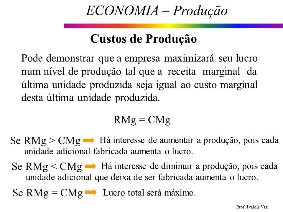 Prof. Ivaldir Vaz ECONOMIA – Produção 23 Custos de Produção Pode demonstrar que a empresa maximizará seu lucro num nível de produção tal que a receita
