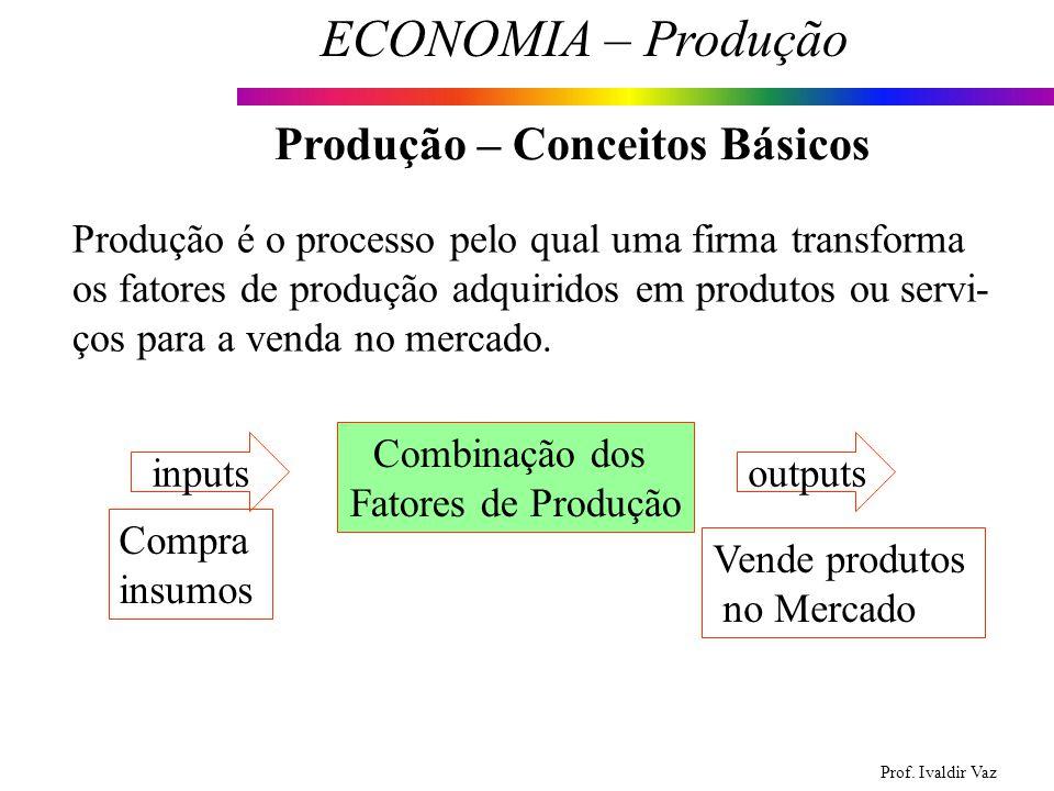 Prof. Ivaldir Vaz ECONOMIA – Produção 3 Produção – Conceitos Básicos Produção é o processo pelo qual uma firma transforma os fatores de produção adqui